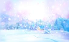 美丽的七彩雪景插画