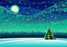冬天森林里的风景插画