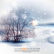 美丽的雪景插画