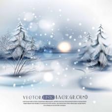 冬天树林里的风景插画