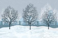 大雪里的树木插画