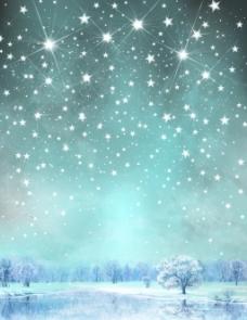 冬天星空风景插画