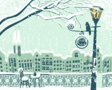 雪中城市风景插画