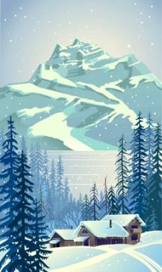 雪山下的房子插画
