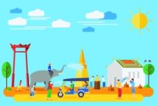 卡通创意泰国旅行插画