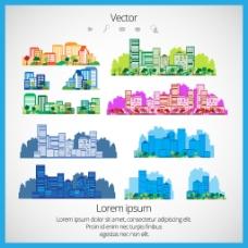 彩色手绘建筑插画