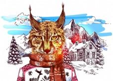 豹猫雪山冬季动物拟人装饰画矢量