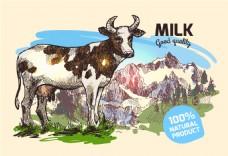高原奶牛雪山冬季动物拟人装饰画矢量