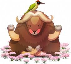 卡通可爱的绵羊插画