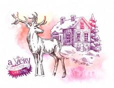 梦幻卡通手绘麋鹿动物拟人装饰画矢量