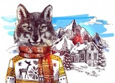 卡通狼雪山冬季动物拟人装饰画矢量