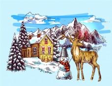 小鹿和雪人雪山冬季动物拟人装饰画矢量