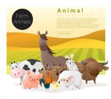 田园动物家族卡通插画矢量图设计素材