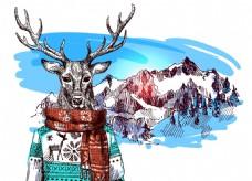 卡通麋鹿雪山冬季动物拟人装饰画矢量