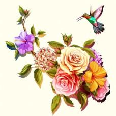 手绘花朵和翠鸟插画
