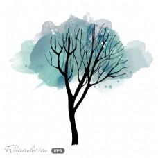 水彩树枝夜晚冬日场景矢量素材