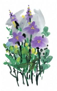 水彩紫色花朵植物花朵水彩手绘矢量文件