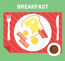 健康早餐俯视图矢量