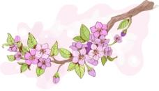 粉色桃花枝樱花枝矢量素材