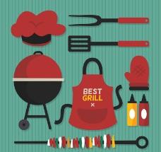 9款红色烧烤用品矢量