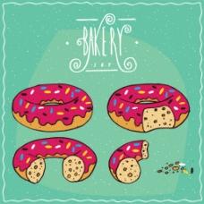 卡通手绘甜甜圈插画