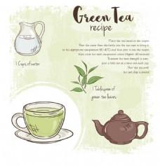 手绘清新绿茶插画