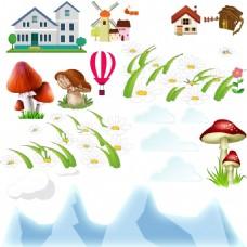 卡通房子蘑菇素材