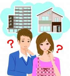 情侣购房家庭房产扁平化矢量素材