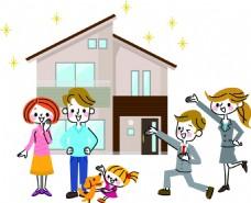 购物家庭房产扁平化矢量素材