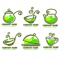 手绘清新茶叶标志