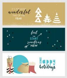 创意卡通圣诞新年横幅海报矢量