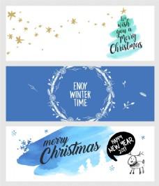 节日庆祝圣诞新年横幅海报矢量