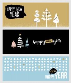 复古简约咖啡色圣诞新年横幅海报矢量