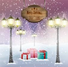 雪地下雪主题圣诞海报矢量设计