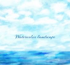 水彩绘蓝天下的大海风景矢量图