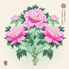 牡丹花束粉色图形花纹VI设计