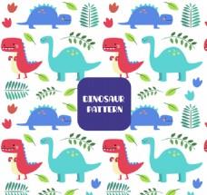 彩色可爱恐龙和树叶无缝背景矢量