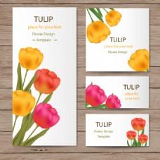 郁金香花与木材纹理