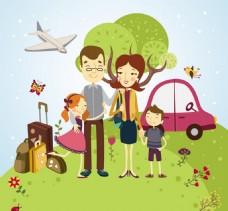 家庭户外旅行矢量背景