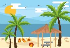 沙滩椰子树矢量素材