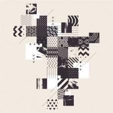 黑白创意几何图形卡通点状纹理背景