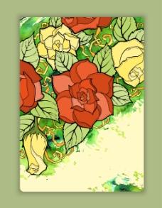 唯美水彩绘花朵背景
