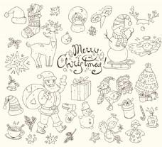 手绘线条冬季圣诞雪人涂鸦矢量背景