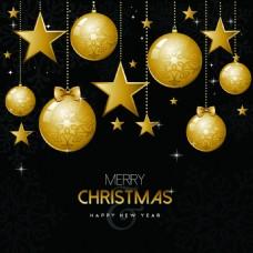 圣诞节金色圣诞装饰设计矢量