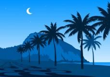 夏天夜晚海边风景素材