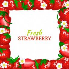 水果草莓边框背景