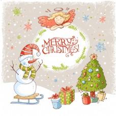温馨圣诞节雪地背景矢量素材
