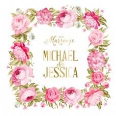 粉色玫瑰花背景婚礼请柬矢量素材