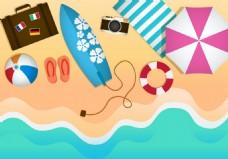 沙滩旅游工具素材