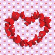 蝴蝶红色浪漫背景素材